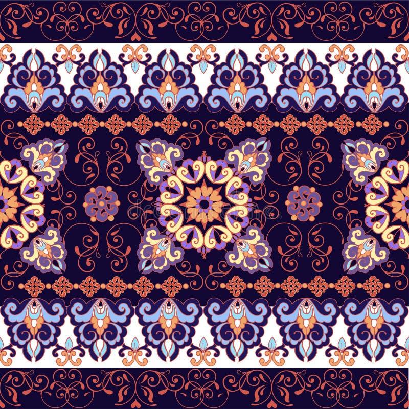 Striped seamless pattern. Floral wallpaper. Colorful ornamental border. Decorative ornament for fabric, textile stock illustration