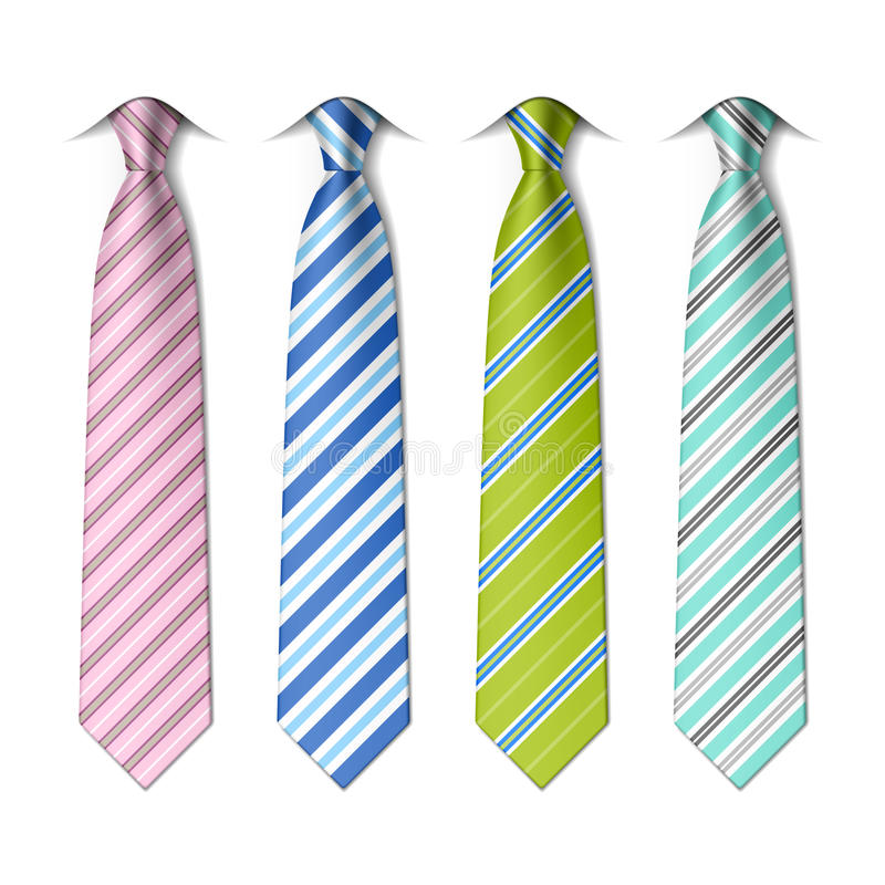 Striped silk ties template. On white vector illustration