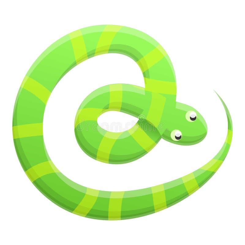 Striped snake icon, cartoon style vector illustration