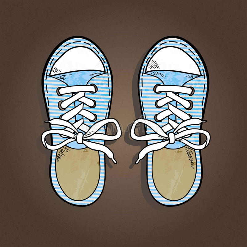Striped sneakers stock illustration