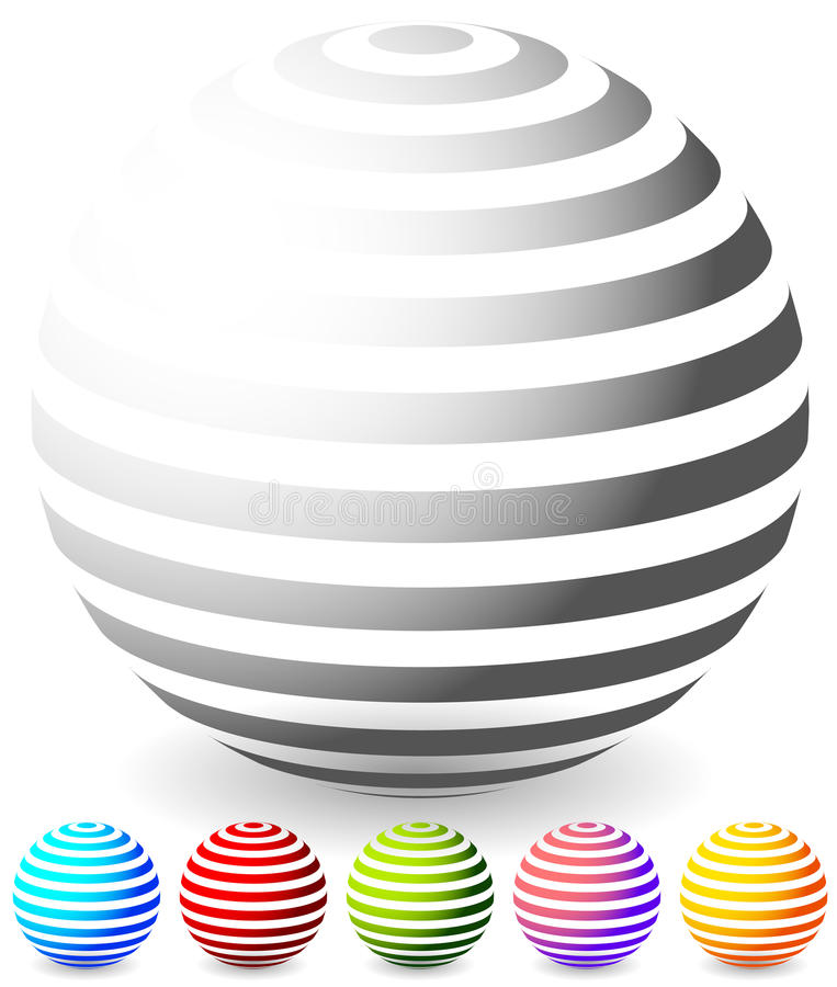 Free Striped Spheres In 6 Colors. Stock Photo - 81778110