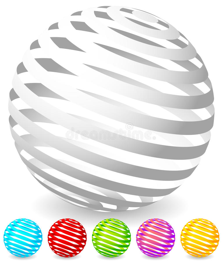 Free Striped Spheres In 6 Colors. Royalty Free Stock Images - 81778129