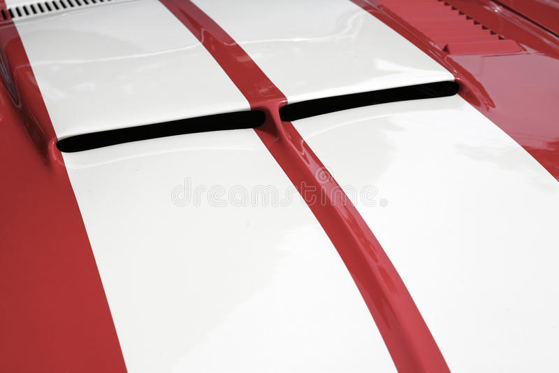 Striped sports car hood royalty free stock image