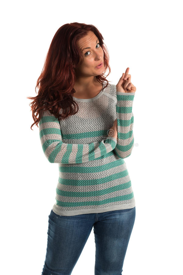 Striped sweater. Pretty redheaded woman in a striped sweater stock photos