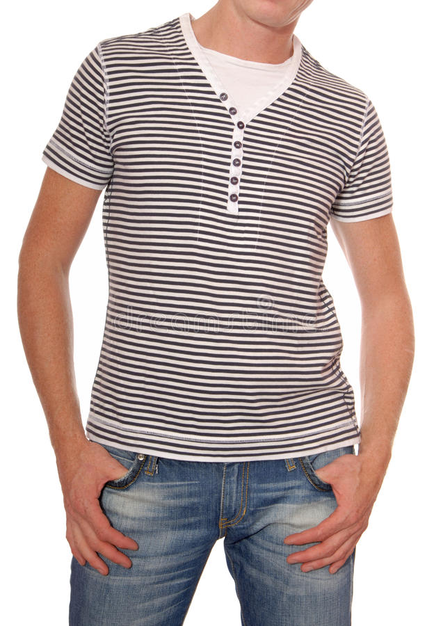 Striped t-shirt and jeans are on man stock photography