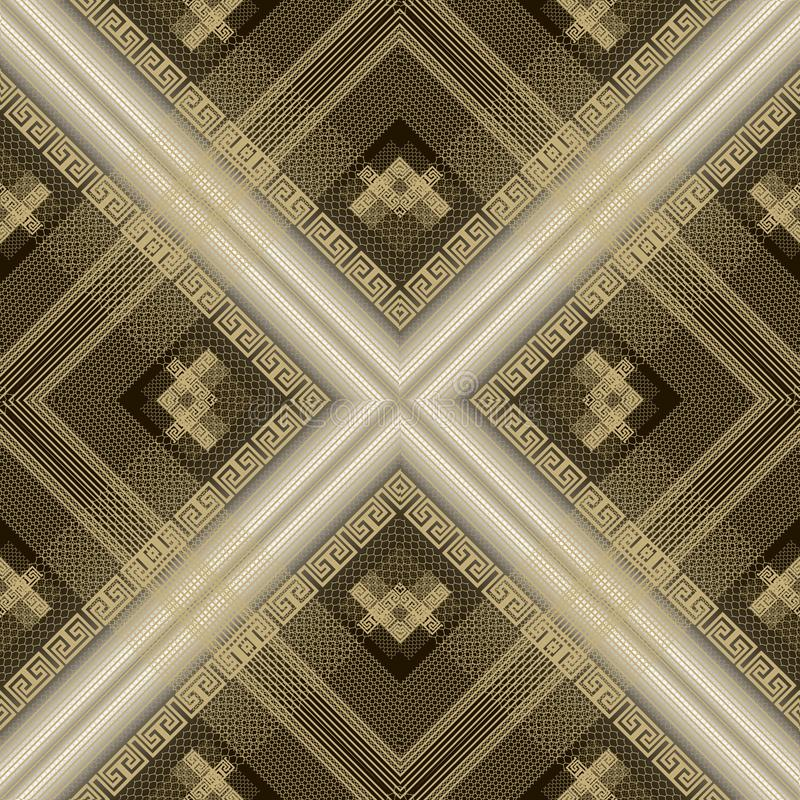 Striped textured 3d greek vector seamless pattern. Abstract geometric modern lace background. Surface repeat gold texture. Ornate. Decorative design. Ornamental vector illustration