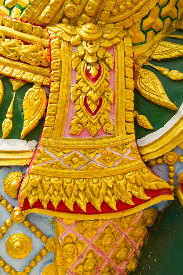 striped Thailand, detail of Thai style in Buddha temple, Thailand stock photo