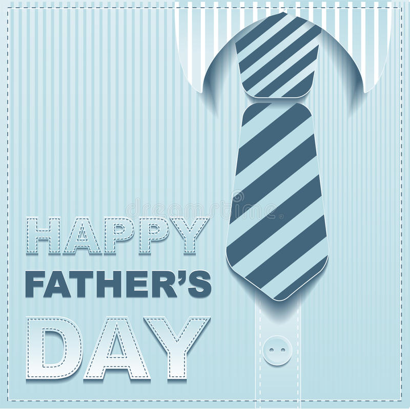 Striped tie on a background of the shirt. Template greeting card for Fathers Day royalty free stock image
