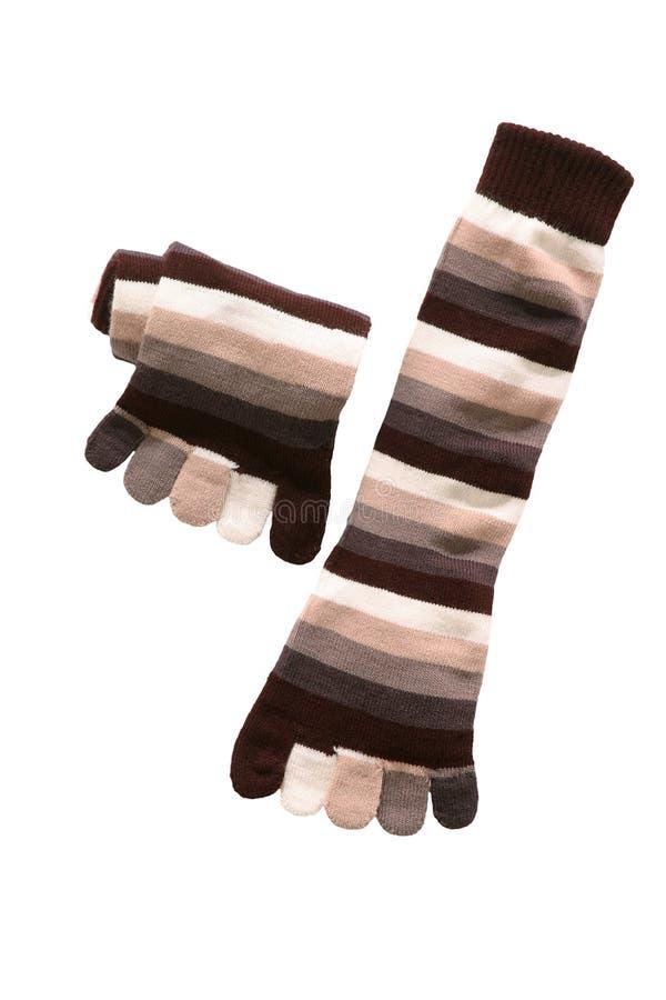 Striped toe socks. Striped wool toe socks in brown shot in the studio royalty free stock photography