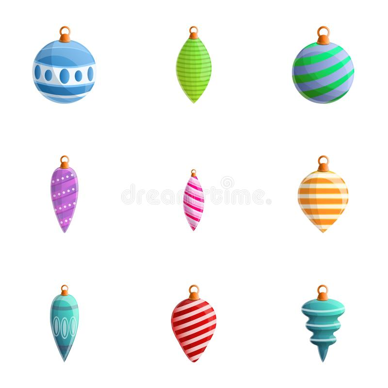 Striped tree toys icon set, cartoon style. Striped tree toys icon set. Cartoon set of 9 striped tree toys vector icons for web design isolated on white stock illustration