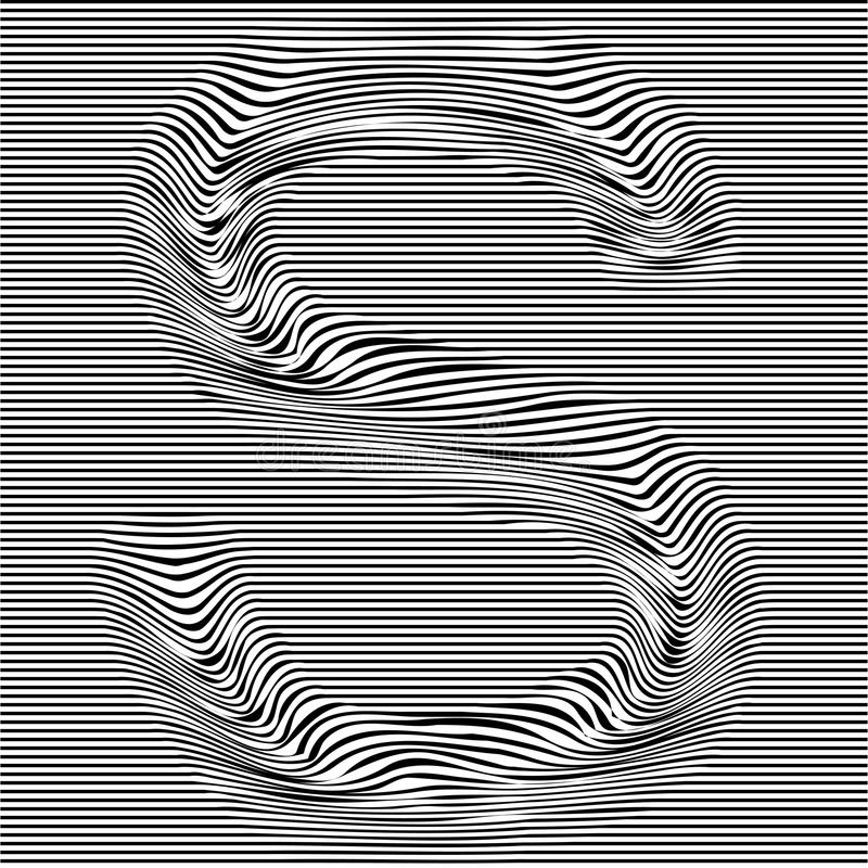 Striped typeface with geometrical pattern letter S of a latin font. Vector lettering with glitch effect, black horizontal distorte vector illustration