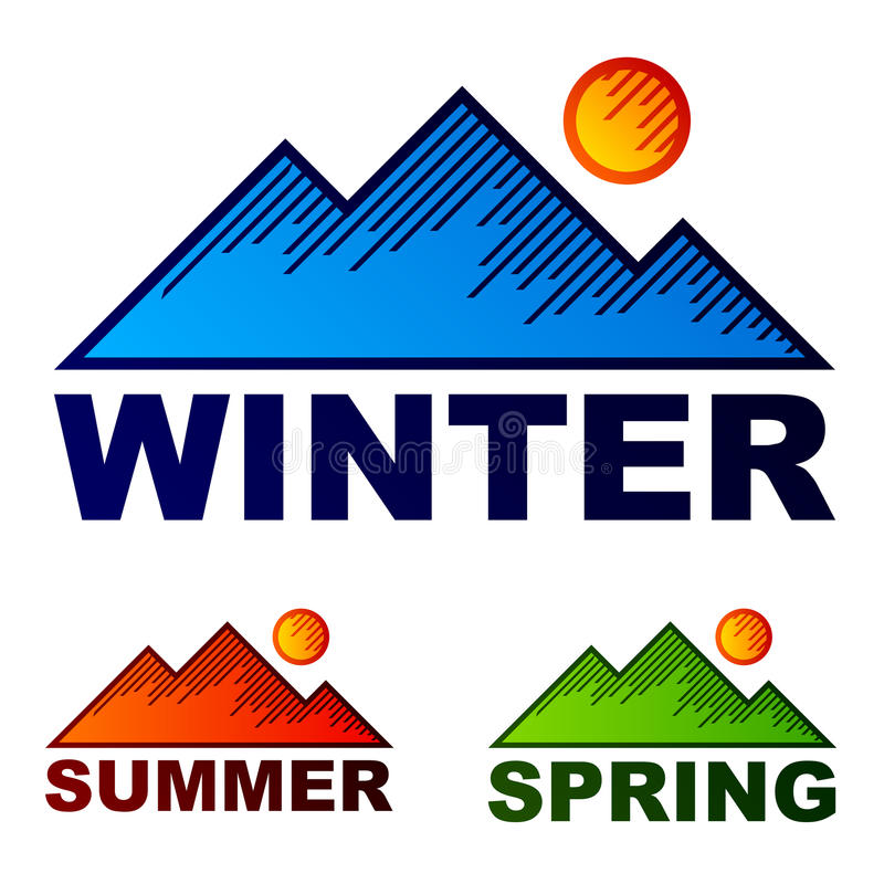 Striped winter summer spring mountains royalty free illustration