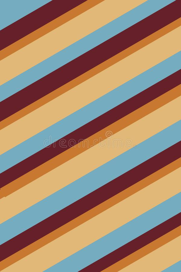 Striped Yellow Blue Background Texture. Maroon, orange, and blue stripes create a beach feeling in this 70s retro diagonally striped background vector illustration