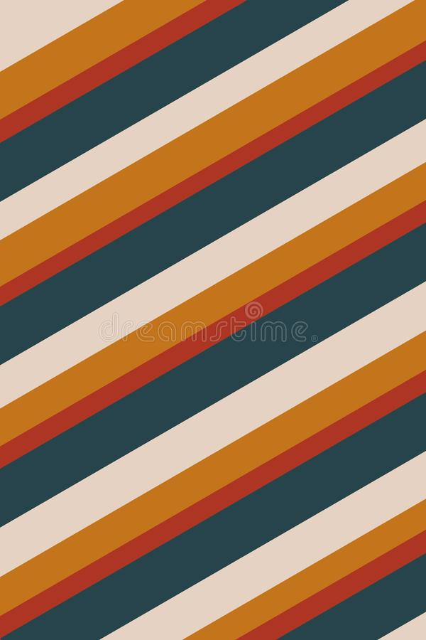 Striped Yellow Blue Background Texture. Orange, green and red stripes create a fall feeling in this 70s retro diagonally striped background stock illustration