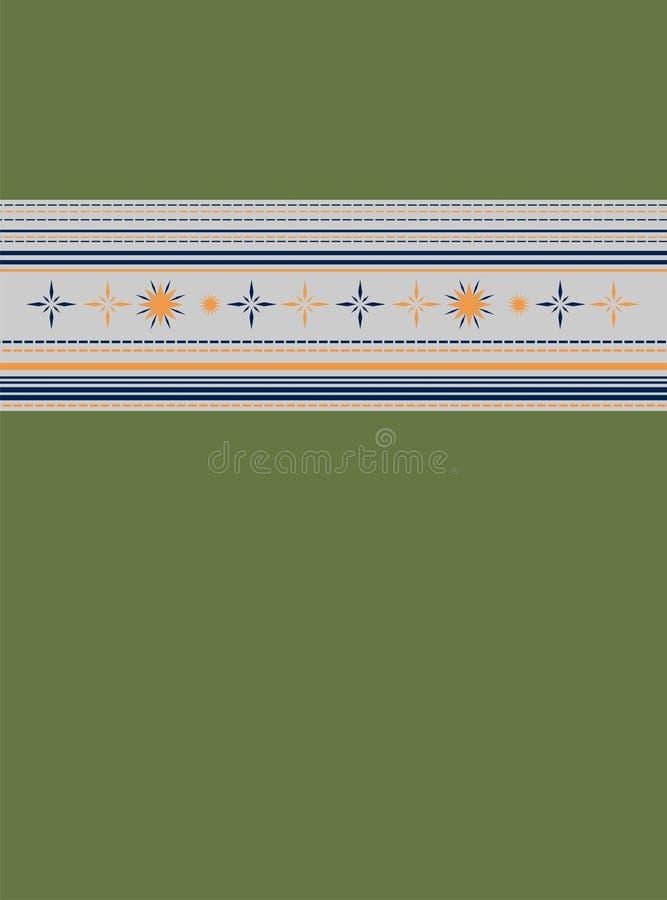 Striperdesign i grå färgdel på övresida av den olivgröna modellen stock illustrationer