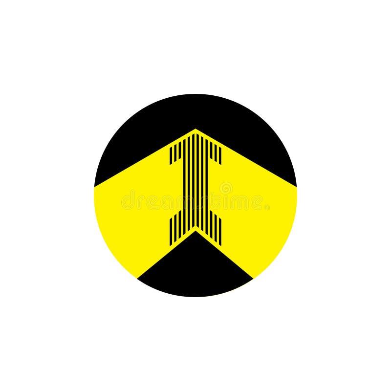 Stripes arrow in circle logo royalty free stock image