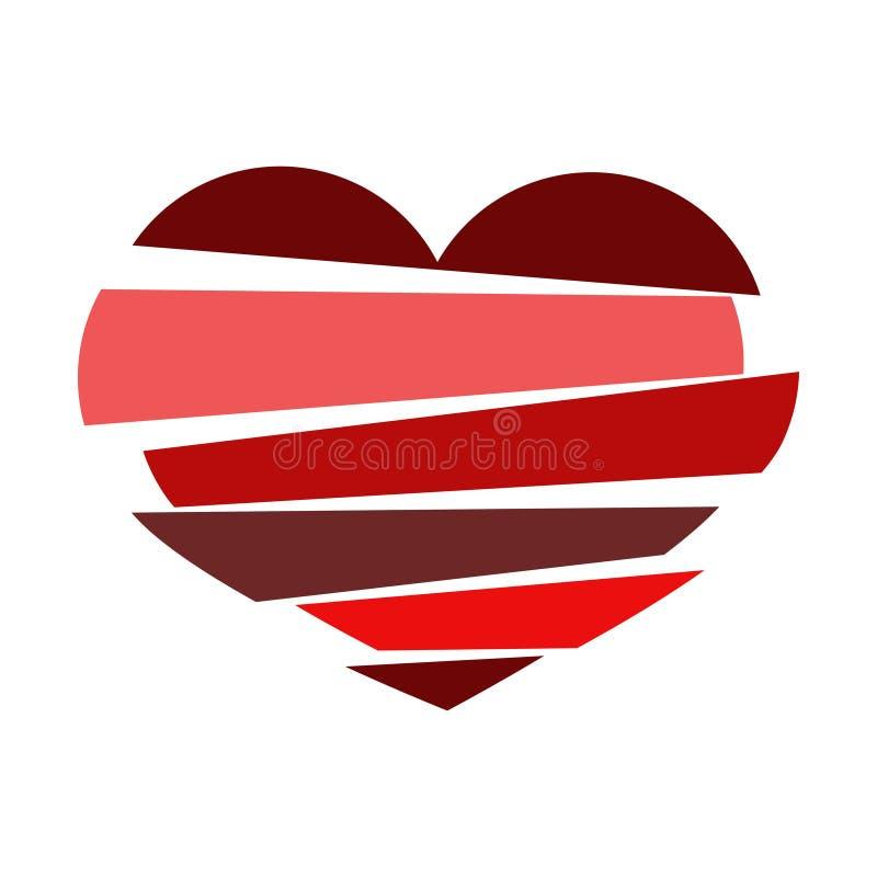 Stripes broken heart in different tones of red on white backgro stock illustration