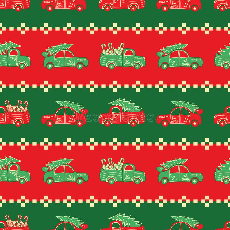 Stripes of Christmas trucks in red and green colors vector pattern. stock illustration