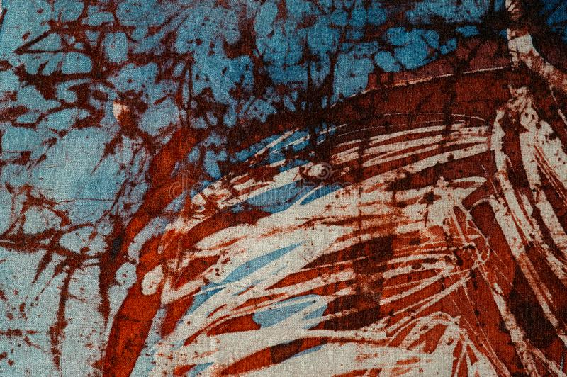 Stripes, hot batik, background texture, handmade on silk, abstract surrealism art stock photo