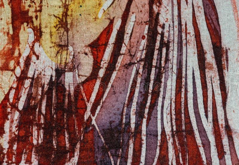 Stripes, hot batik, background texture, handmade on silk, abstract surrealism art royalty free stock photography