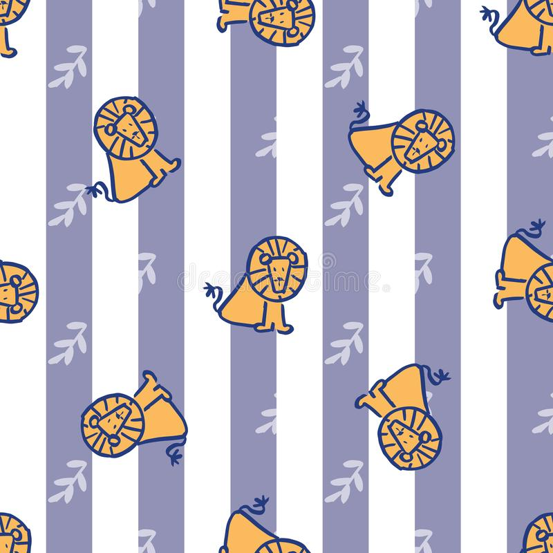 Stripes leave lion seamless repeat pattern. Perfect for kids and background stock illustration