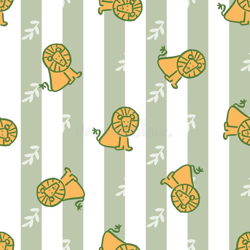 Stripes leave lion seamless repeat pattern. stock illustration