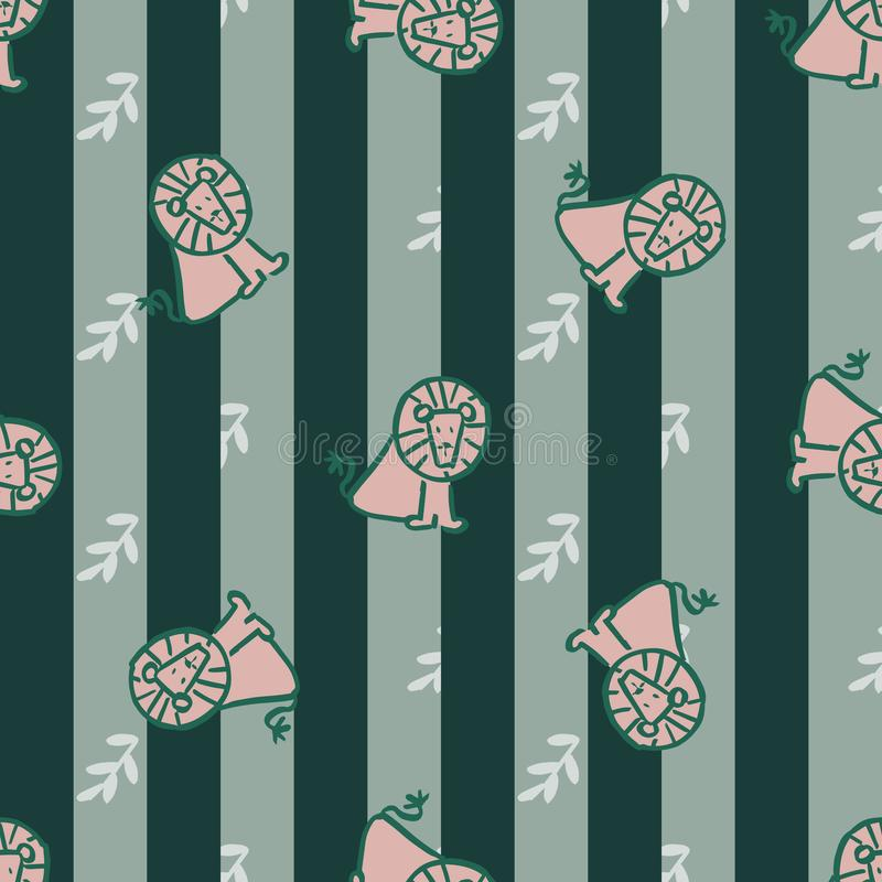 Stripes leave lion seamless repeat pattern. royalty free illustration