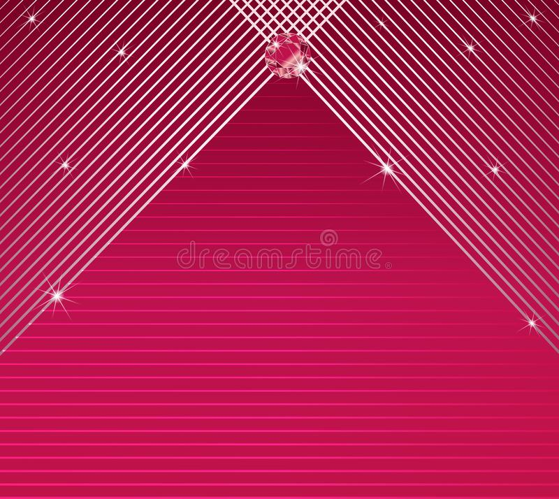 Stripes pattern background elegant glamour invitation card vector. Pink background with thin abstract lines, stripes, diamond and glow. Elegant, glamour stock illustration