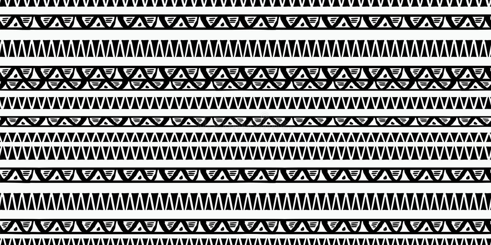 Tribal pattern vector with black and white hand drawn ethnic symbol. Abstract african ancient drawing background ready for fashion stock illustration