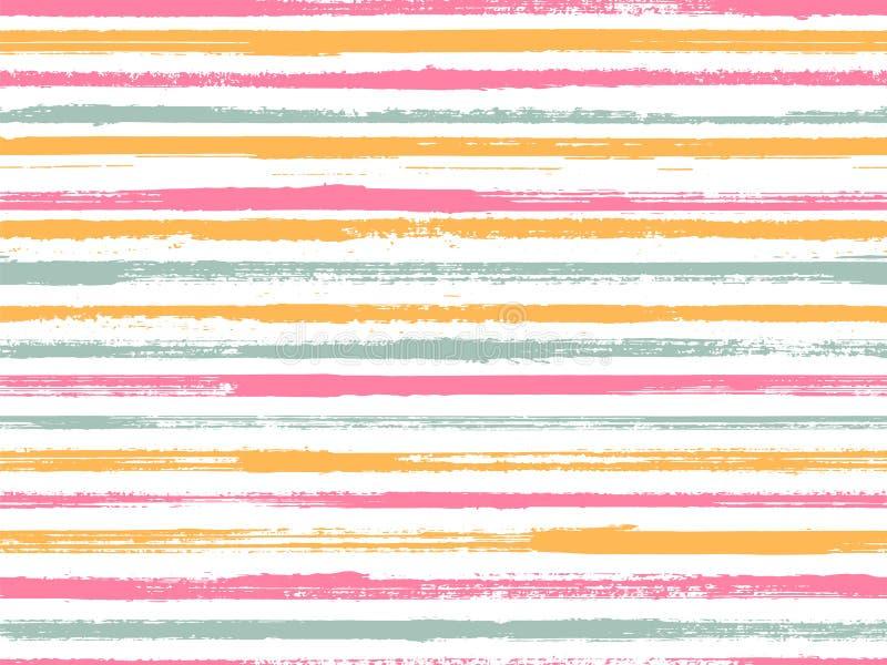 Stripes watercolor paintbrush seamless vector pattern. vector illustration