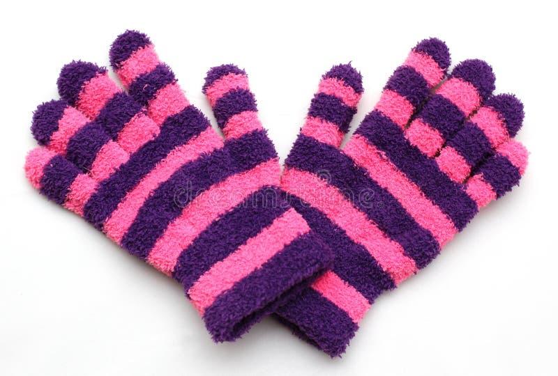 Stripey woollen Handschuhe stockfotos