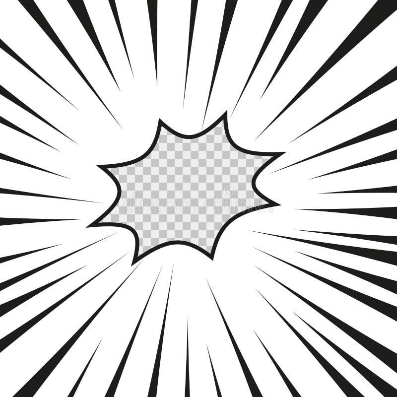 Strippagina de radiale lijn van de flitsexplosie op de transparante geïsoleerde achtergrond De ontploffingsgloed van de flitsstra royalty-vrije illustratie