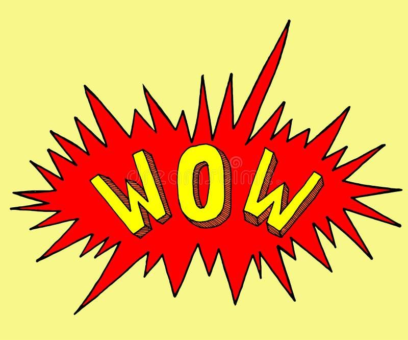 Strippaginazegel WAUW in pop-artstijl Beeldverhaalsticker met explosie Symbool van uitroep vector illustratie