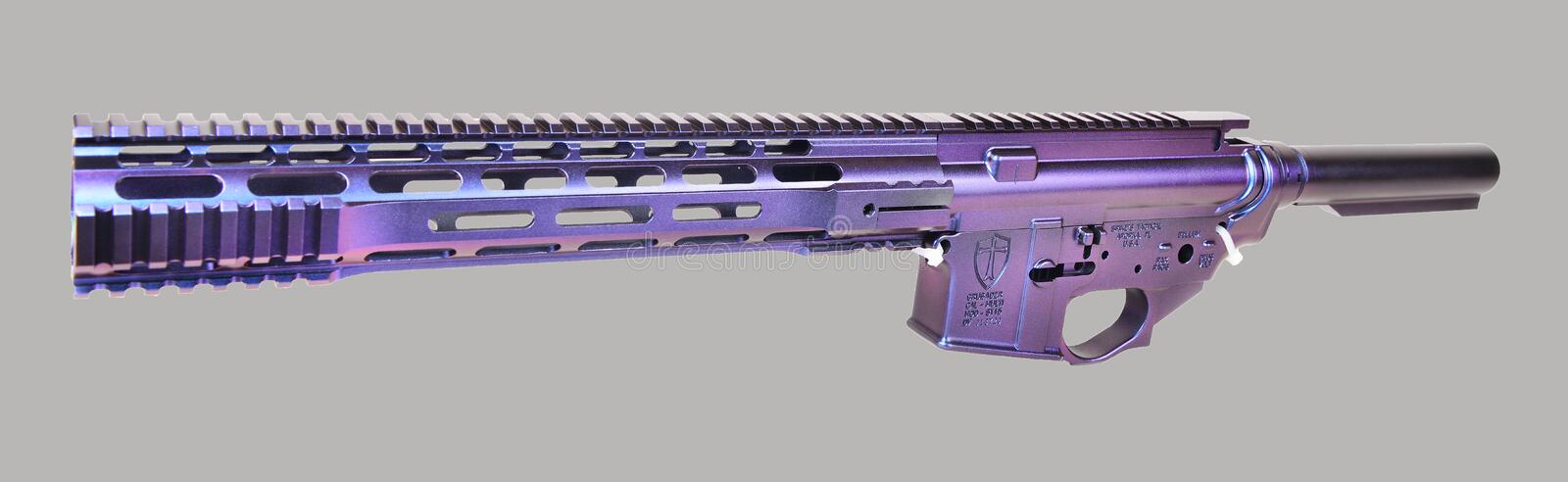 Left Side Painted AR15 Upper, Lower, Hand Guard and Buffer Tube ready for remaining parts to complete royalty free stock images
