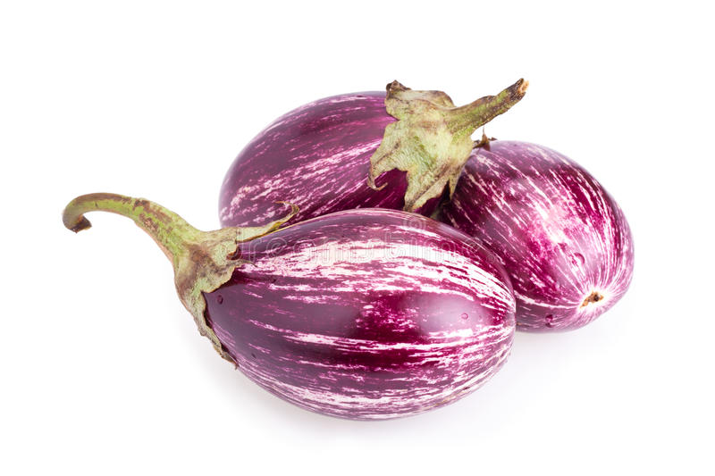 Download Stripped Eggplants Isolated On White Stock Photo - Image: 21496914