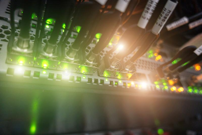 Stripped Optical Fiber Cable. Server rack. stock images