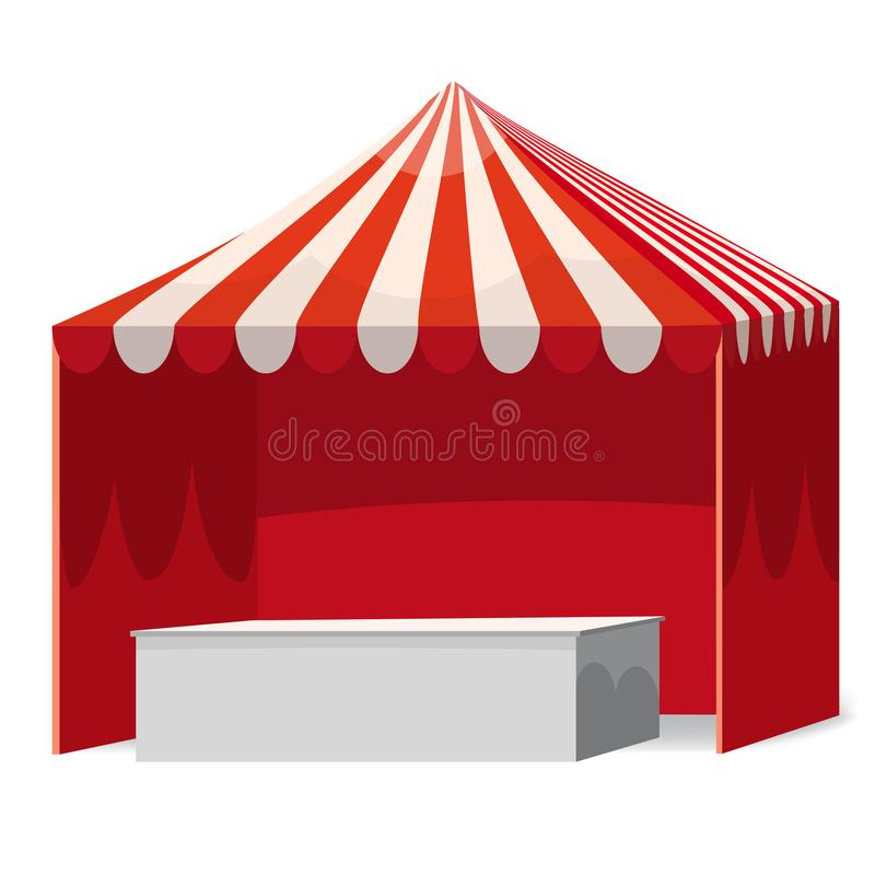 Stripped Promotional Outdoor Event Trade Show Pop-Up Red Tent With Counter Mobile Marquee. Mockup, Mock Up, Template. Stripped Promotional Outdoor Event Trade royalty free illustration