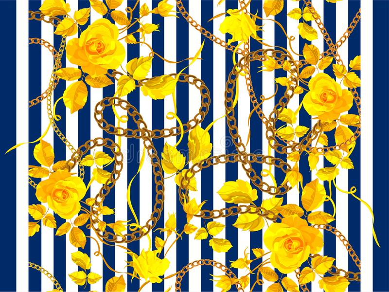Stripped seamless pattern with chains and roses. Vector floral patch for fabric, scarf royalty free illustration