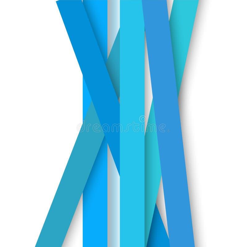 Strips of blue paper on white background stock illustration