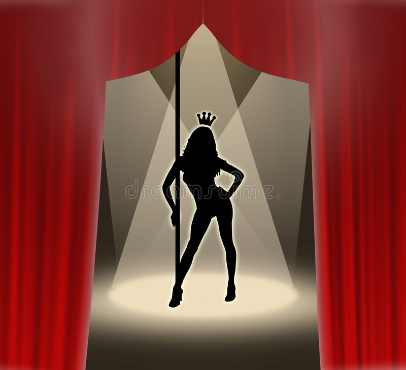 Striptease queen. Dancer queen on stage performing a striptease show