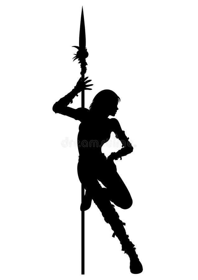 Stripteaseschattenbild der Kriegersfrau stock abbildung