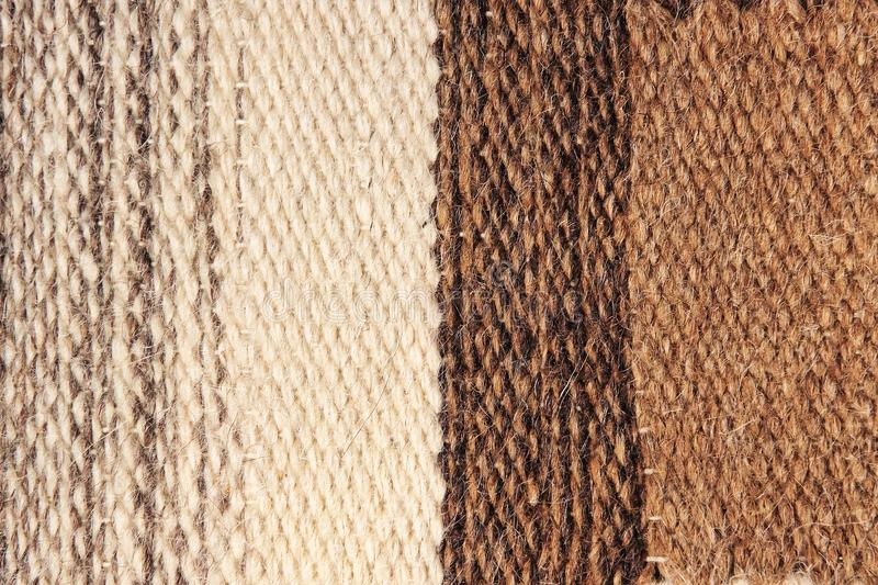 The stripy camel wool fabric texture pattern as abstract background. stock photos