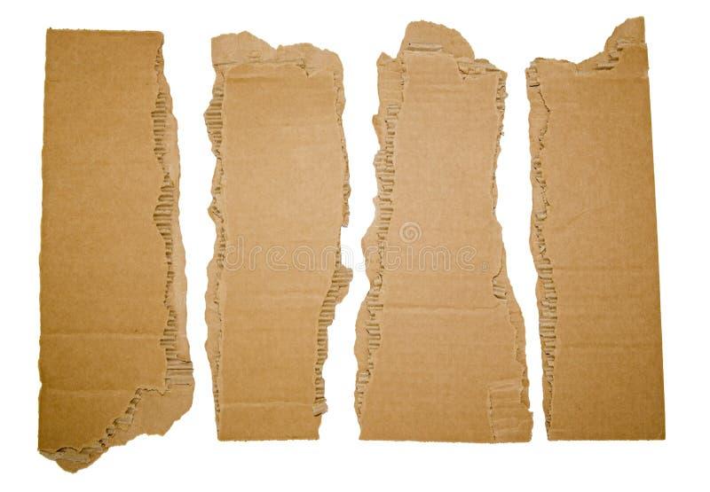 Strisce di cartone lacerate con gli angoli immagini stock