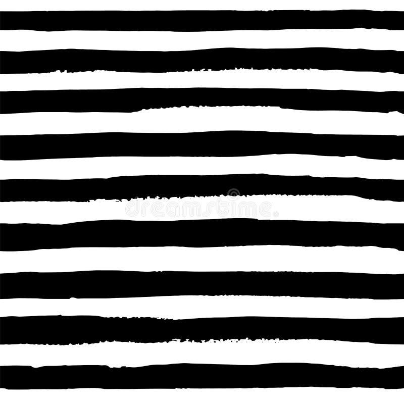 Strisce orizzontali del nero dell'acquerello del modello senza cuciture di vettore royalty illustrazione gratis