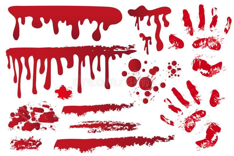 Strisce sanguinose realistiche stabilite Handprint nel sangue royalty illustrazione gratis