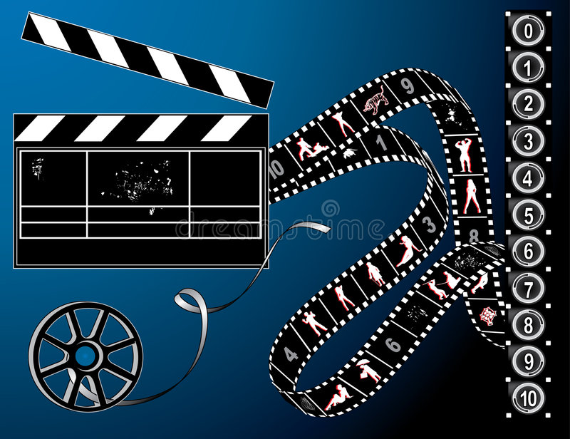 Striscia della pellicola e retro bobina illustrazione vettoriale