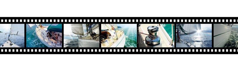 Striscia di pellicola con l'yacht delle immagini nel mare aperto fotografia stock libera da diritti