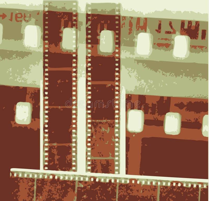 Striscia di pellicola del collage di vettore nelle variazioni di seppia royalty illustrazione gratis