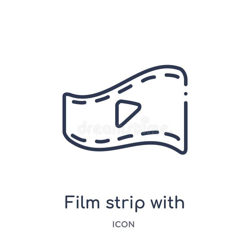 Striscia di pellicola lineare con l'icona del triangolo del gioco dalla raccolta del profilo del cinema Striscia sottile della pe royalty illustrazione gratis