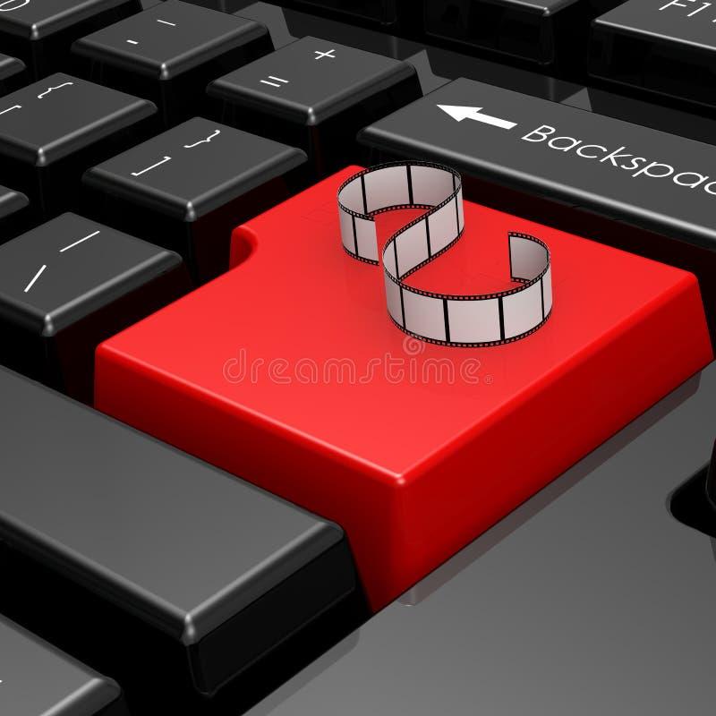 Striscia di pellicola sul bottone rosso della tastiera di computer illustrazione di stock